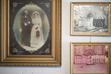 Josephine's family wedding photos include her grandparents (left) Rosa Saenz and Antonio Rivas, who were wed in 1912, (top right) her mother Teresa Rivas and father Jose Rodriguez, who married in 1948 in front of Mission Espada, and Josephine and Jesse Mendoza in front of Mission Espada in 1979.