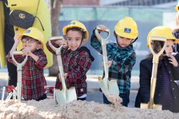 (from left) Twin brothers Jacob and John Ledesma, 6, Sergio Rodriguez, 3, and Ada Stephens, 2, participate in the groundbreaking of the Women's and Children's Hospital at University Hospital.