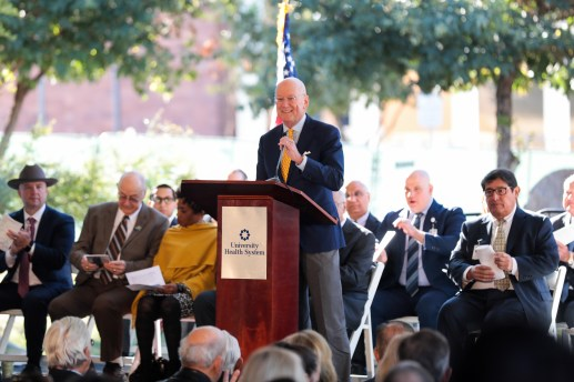 UT Health President Dr. William Henrich speaks before the groundbreaking of the Women and Children's Hospital at University Hospital.