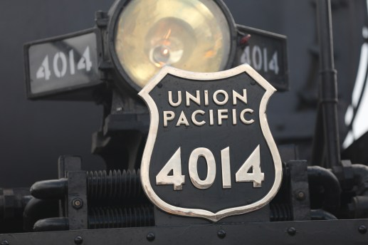 The Union Pacific 4014 badge at the front of the train.