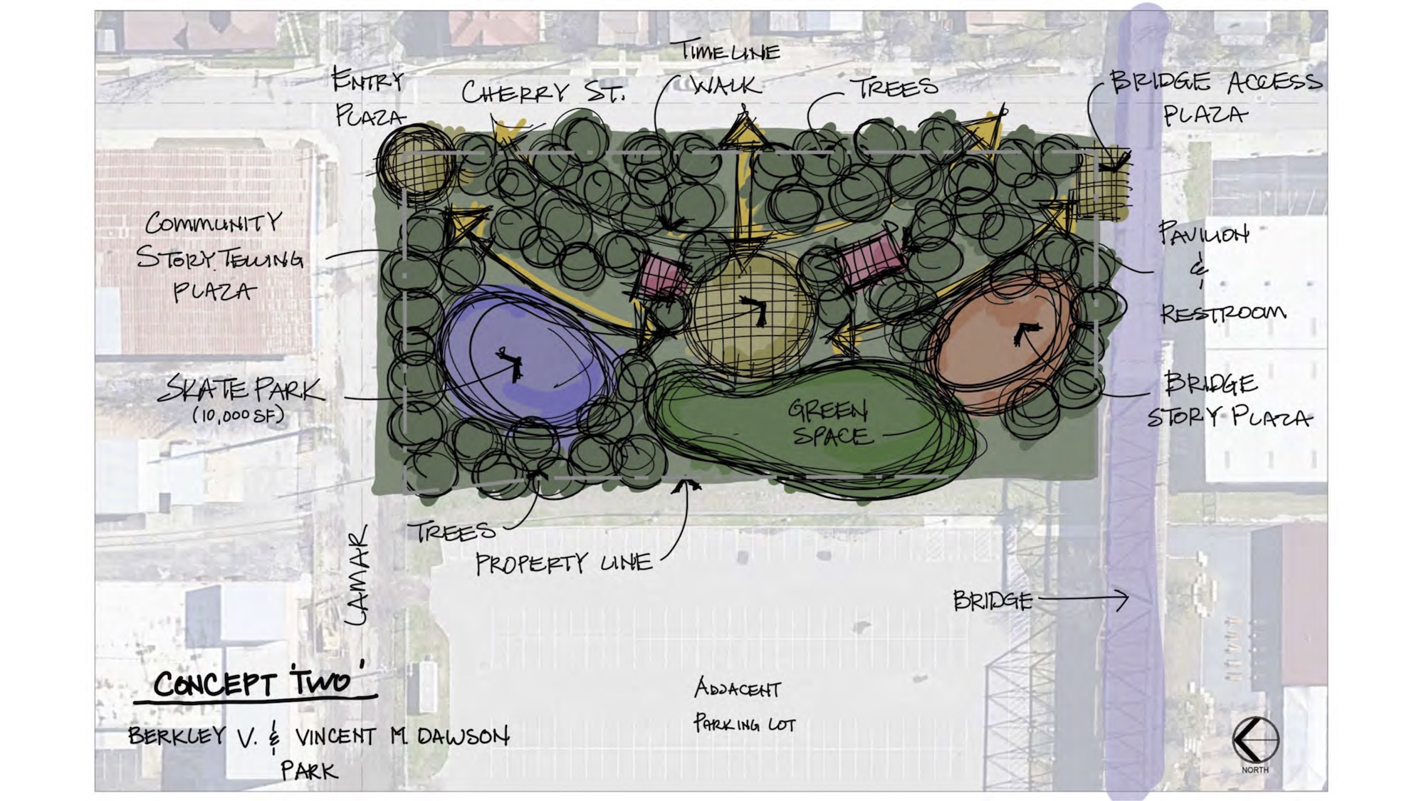 """This design option for the park next to the Hays Street Bridge (""""Concept Two"""") includes historic storytelling opportunities and a larger open greenspace area."""