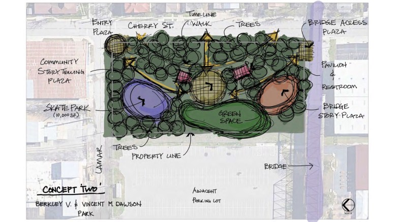 "This design option for the park next to the Hays Street Bridge (""Concept Two"") includes historic storytelling opportunities and a larger open greenspace area."