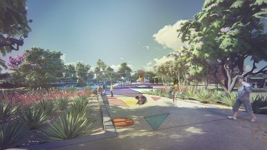 A rendering of the land bridge at the future SAY Sí campus.