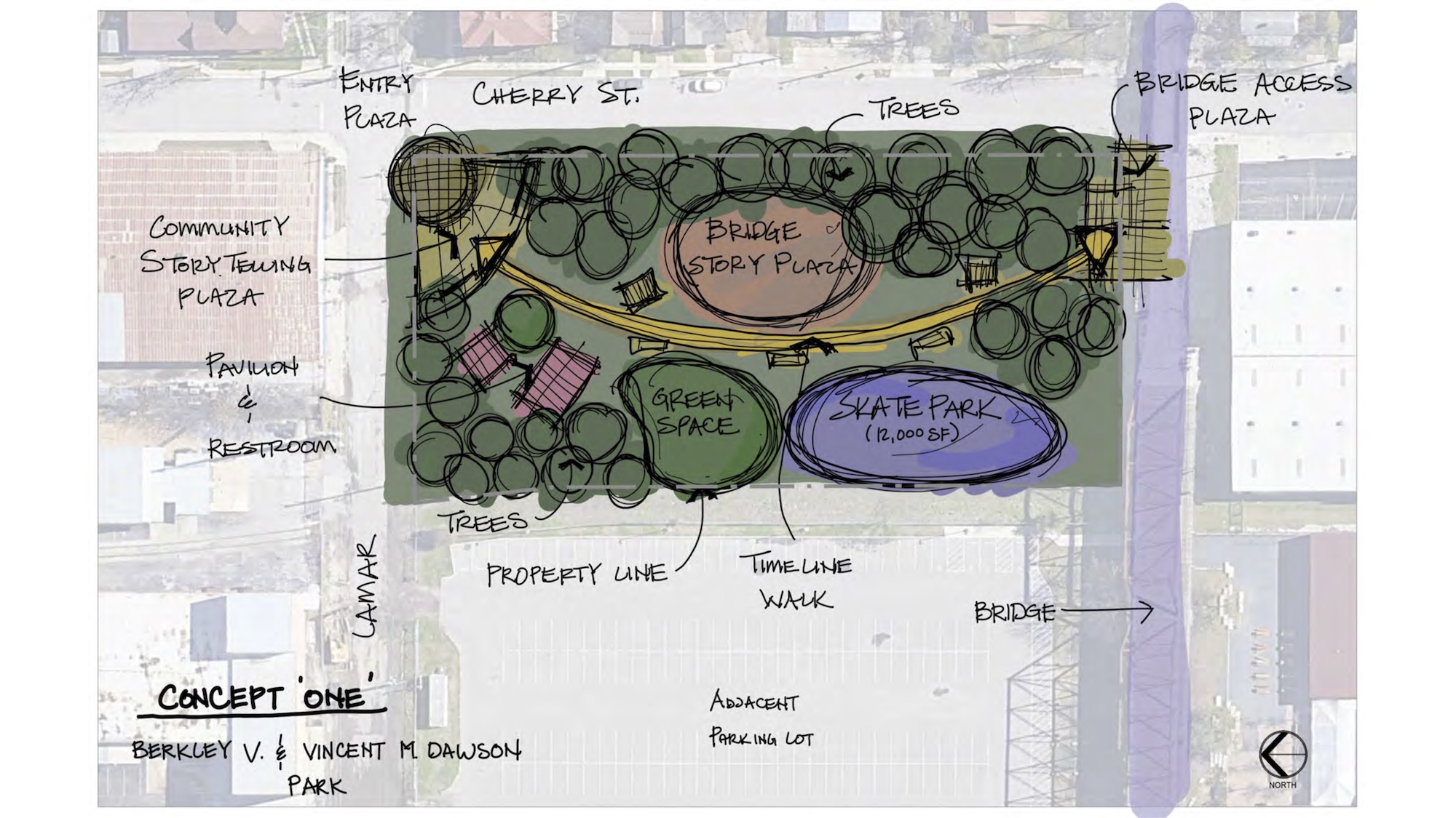 """This design option for the park next to the Hays Street Bridge (""""Concept One"""") includes a playground and timeline walkway that sweeps across the park."""