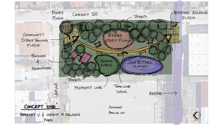 "This design option for the park next to the Hays Street Bridge (""Concept One"") includes a playground and timeline walkway that sweeps across the park."
