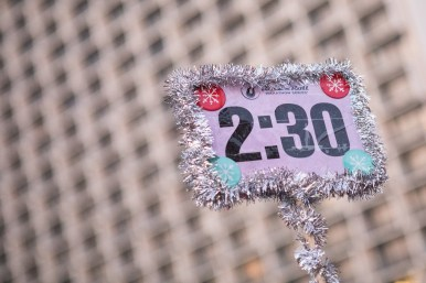 Sonya Lerma's pace marker is decorated for the holidays.