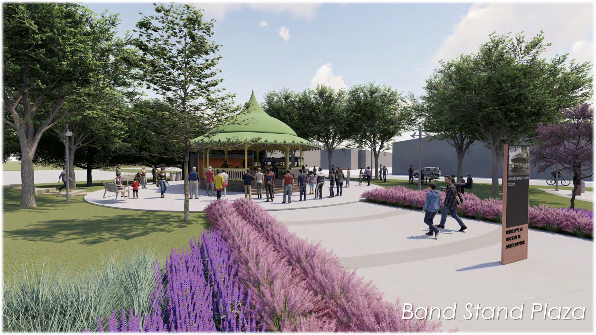 """This rendering shows what a pavilion or """"band stand"""" could look like inside the park planned in the near East Side."""