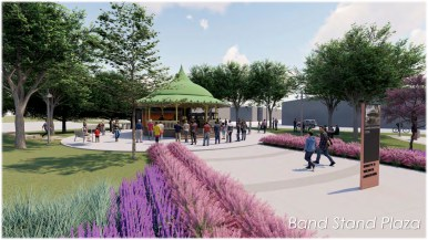 "This rendering shows what a pavilion or ""band stand"" could look like inside the park planned in the near East Side."