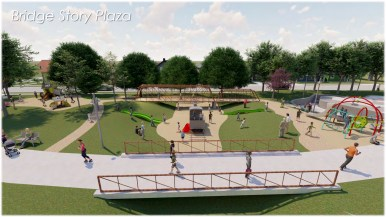 A small playground would feature neighborhood elements such as houses and a miniature Hays Street Bridge for children to play on.