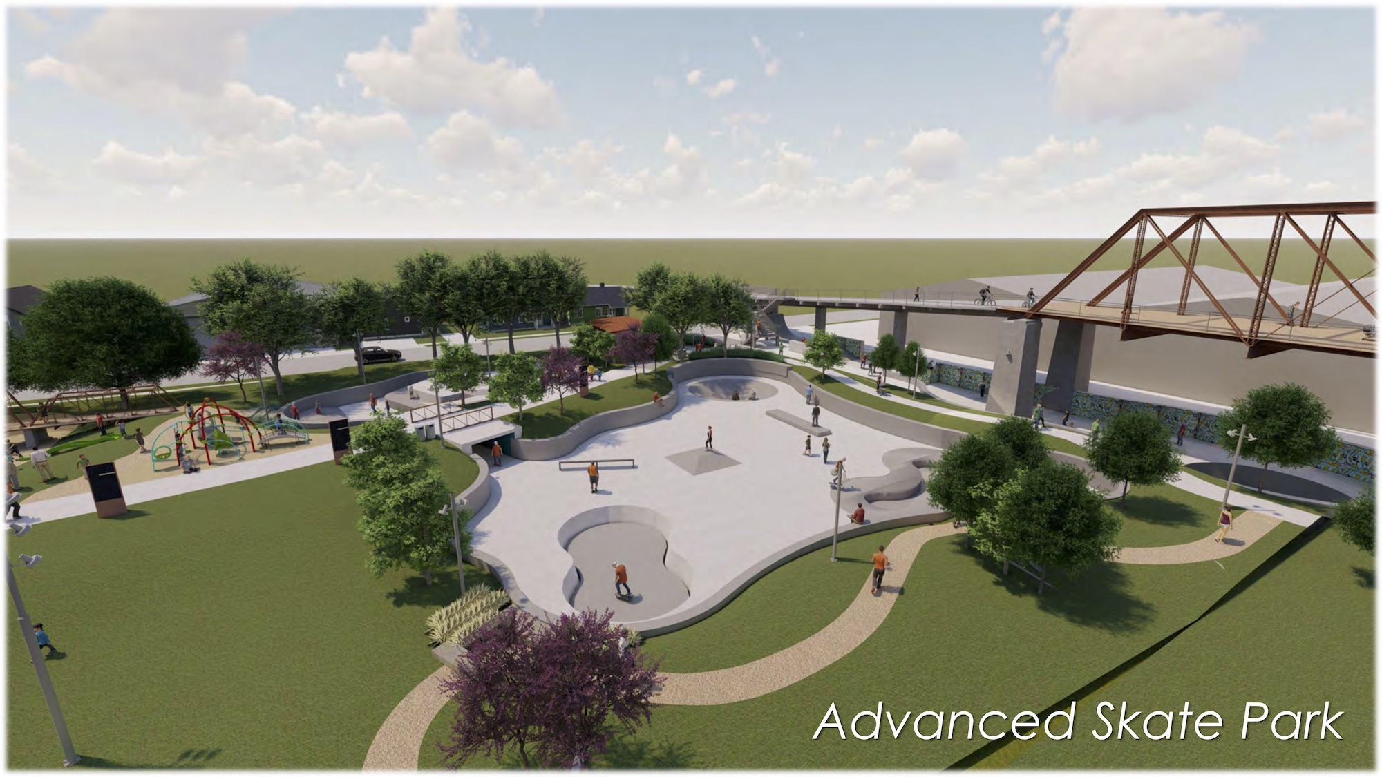 This rendering shows the advanced skate park next to the Hays Street Bridge. The beginners park is further east, connected by a tunnel.