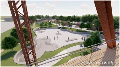 This rendering shows what the skate park could look like from the Hays Street Bridge.