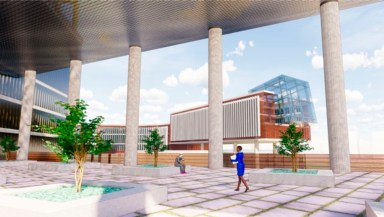 A rendering of a breezeway view of the future Project Legatum.