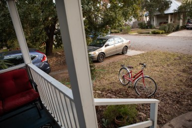 Mitzi Moore's bike sits in front of her home in the Cotage District of Alamo Heights.