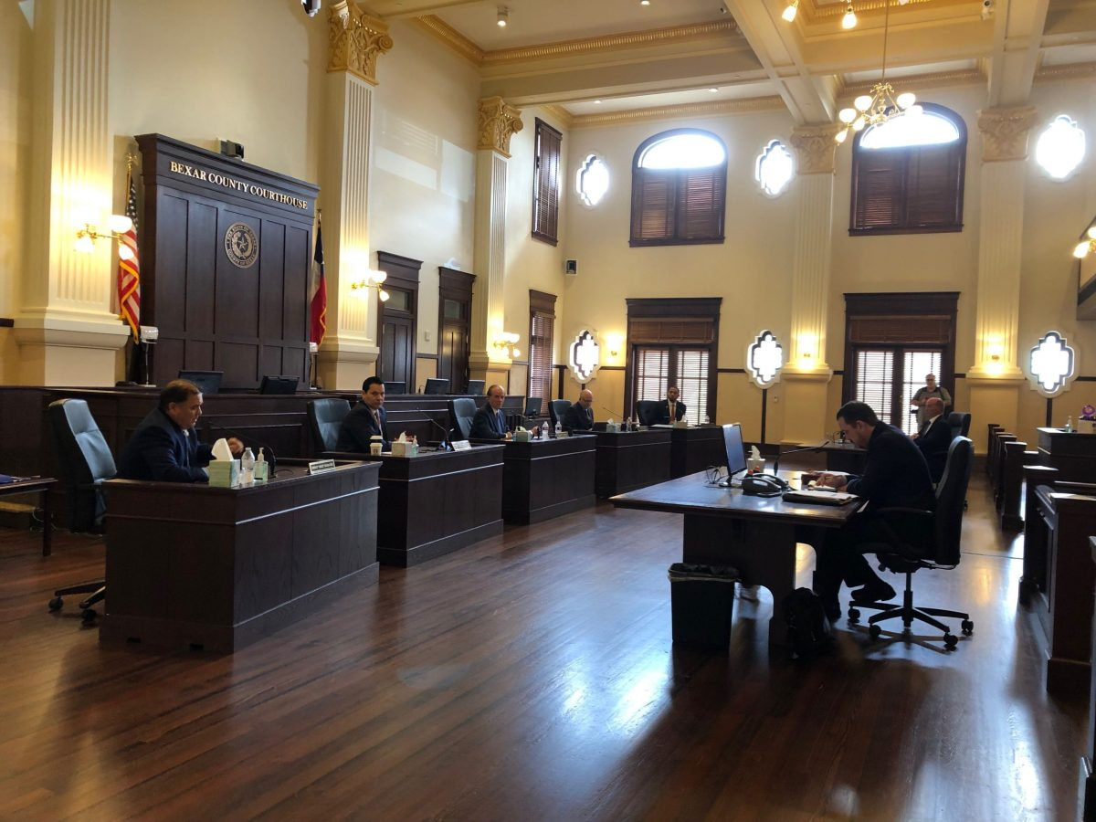 Bexar County Commissioners Court features a new configuration to adhere to new social distancing guidelines amid the COVID-19 pandemic.