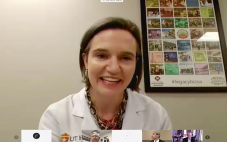 Dr. Barbara Taylor, an infectious disease expert with UT Health San Antonio, speaks to elected officials via video chat.