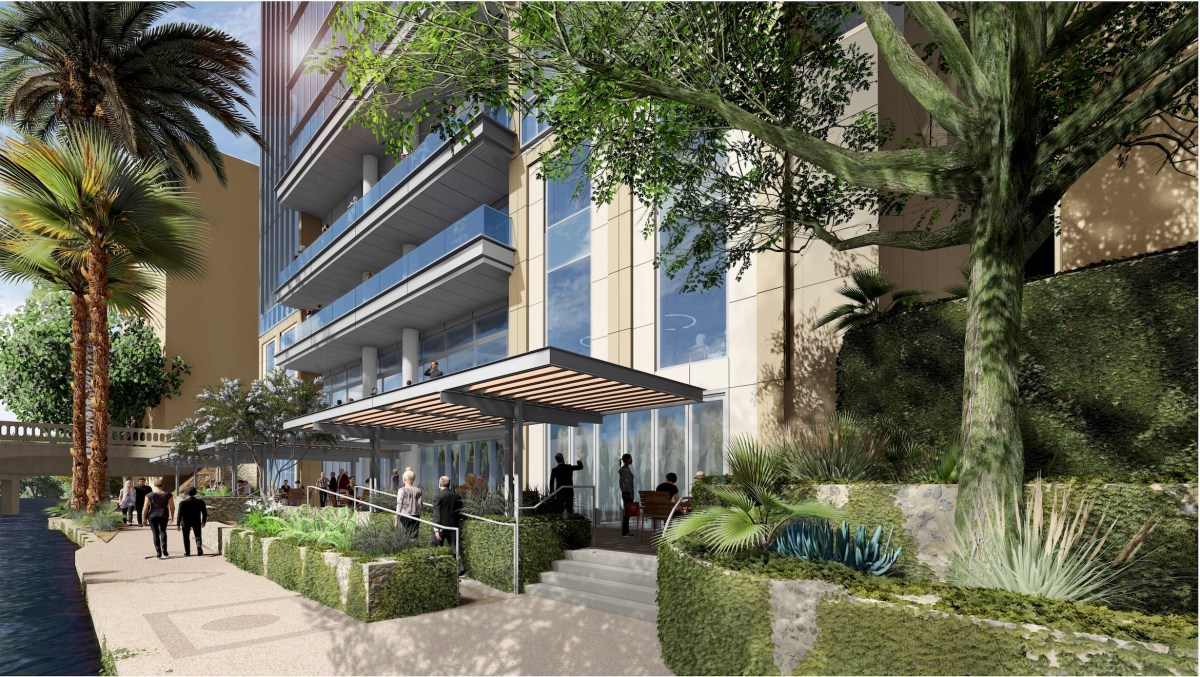 This rendering shows how Hotel Sul Fiume will be connected to the San Antonio River Walk with walkways, retaining walls, and planters.
