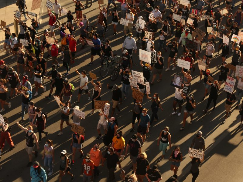 Thousands of protesters march through downtown in support of the Black Lives Matter movement.