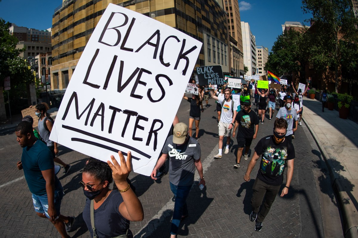 Protesters gathered at Paul Elizondo Tower before marching through downtown San Antonio in support of the Black Lives Matter movement on Tuesday, the 11th day of local demonstrations.