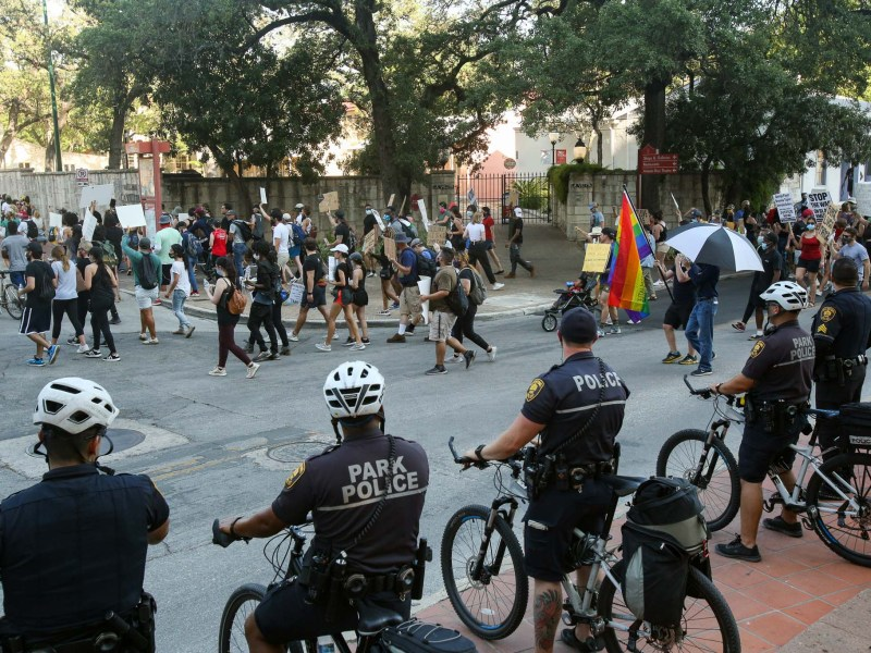 Black Lives Matter protesters march into La Villita last summer following the deaths of George Floyd and Breonna Taylor that spurred demonstrations throughout the country.