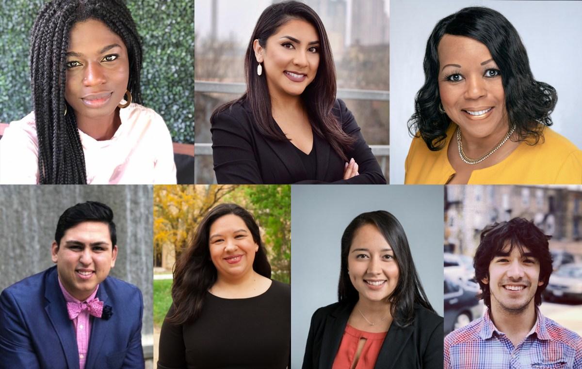 The Rivard Report has added seven new advisory board members (from upper-left clockwise) Ojiyoma Martin, Fátima Menéndez, Dr. Melissa Walker, Alex Birnel, Sofía Bahena, Anais Biera Miracle, and David Nungaray.