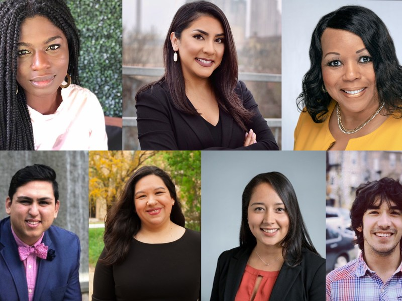The Rivard Report has added seven new advisory board members (from upper-left clockwise) Ojiyoma Martin, Fátima Menéndez, Dr. Melissa Walker, Alex Birnel, Sofía Bahena, Anais Biera Miracle, and David Nungaray.