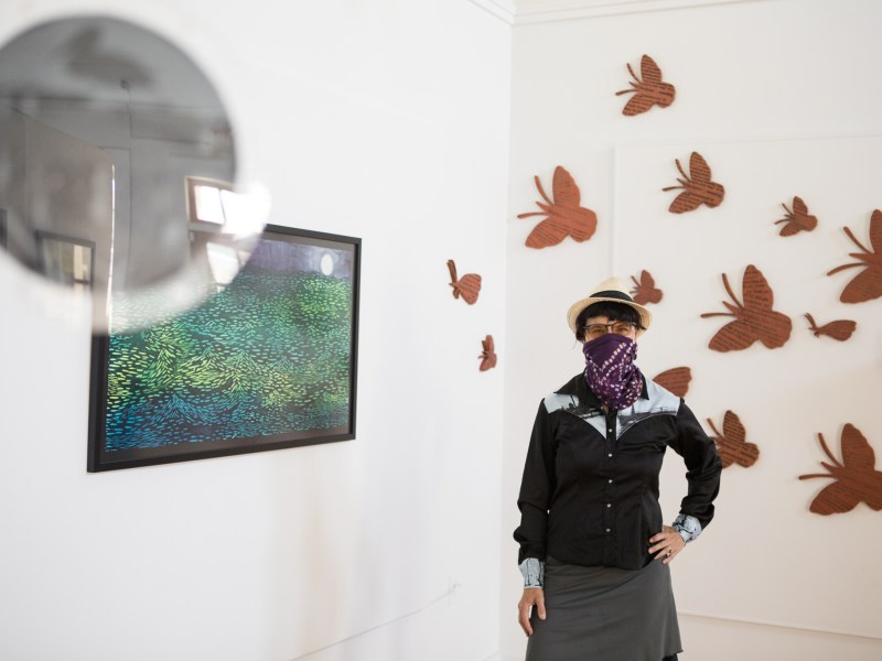 "Artist Sabra Booth stands next to her exhibition ""Hot Pursuit: A Visual Commentary on Climate Change"" in the Bihl Haus Arts gallery."