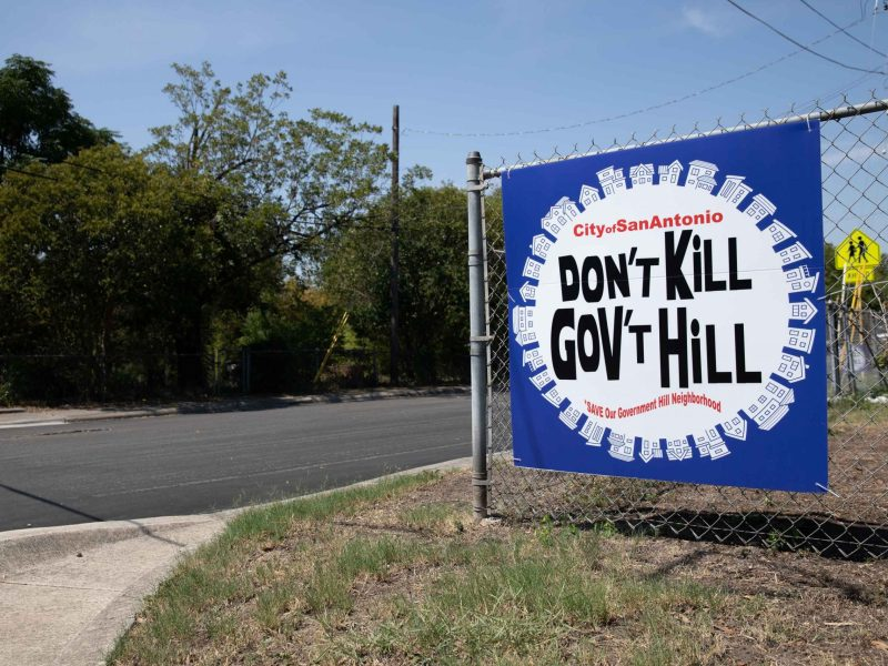 Large signs against a commercial zoning change are scattered throughout the Government Hill neighborhood near Fort Sam Houston.