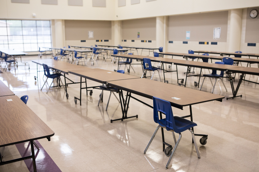 Eloise Japhet Elementary School's cafeteria restricts seating in certain areas to maintain physical distancing.