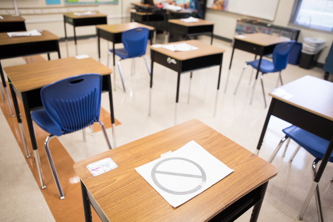 Classrooms inside Eloise Japhet Elementary have protective measures in place such as restricted desks that allow students to be socially distant.