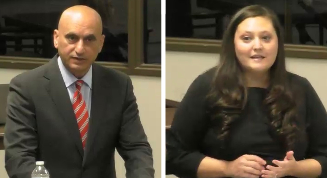 Soner Tarim (left) of Royal Public Schools and Lauren Lewis of Prelude Preparatory Charter School present to the State Board of Education.