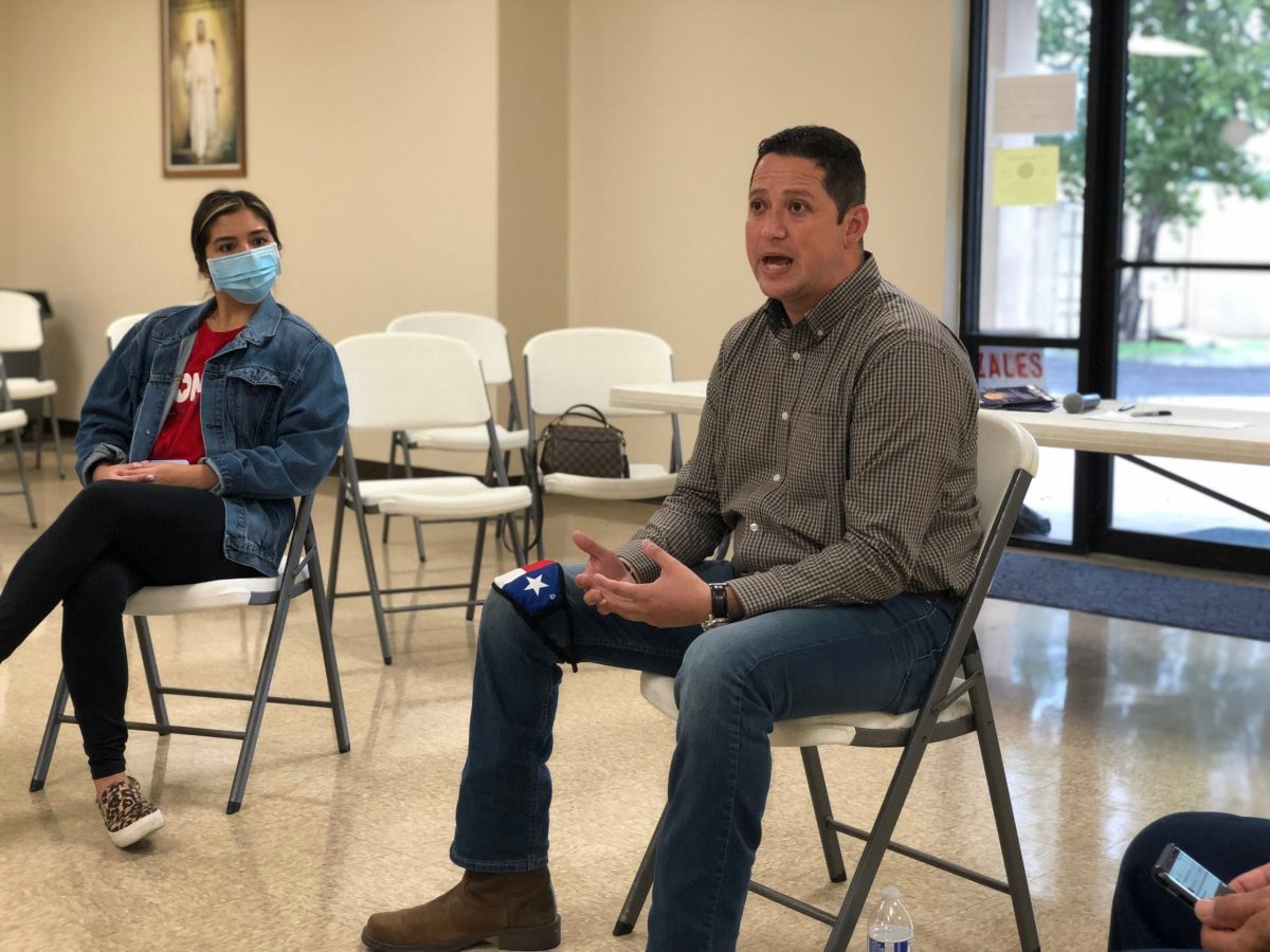 Tony Gonzales, who is running to represent Texas's 23rd Congressional District, holds a town hall on Monday.