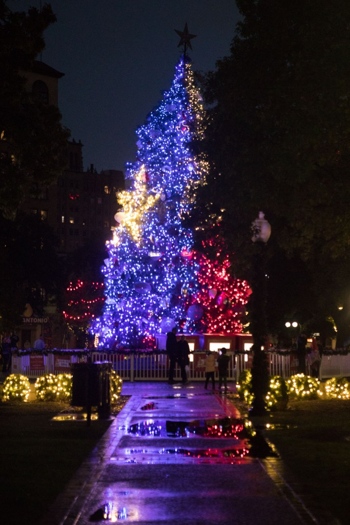 The Christmas tree in Travis Park is lit up for the holidays. Vertical photos taken on Saturday, November 28, 2020.