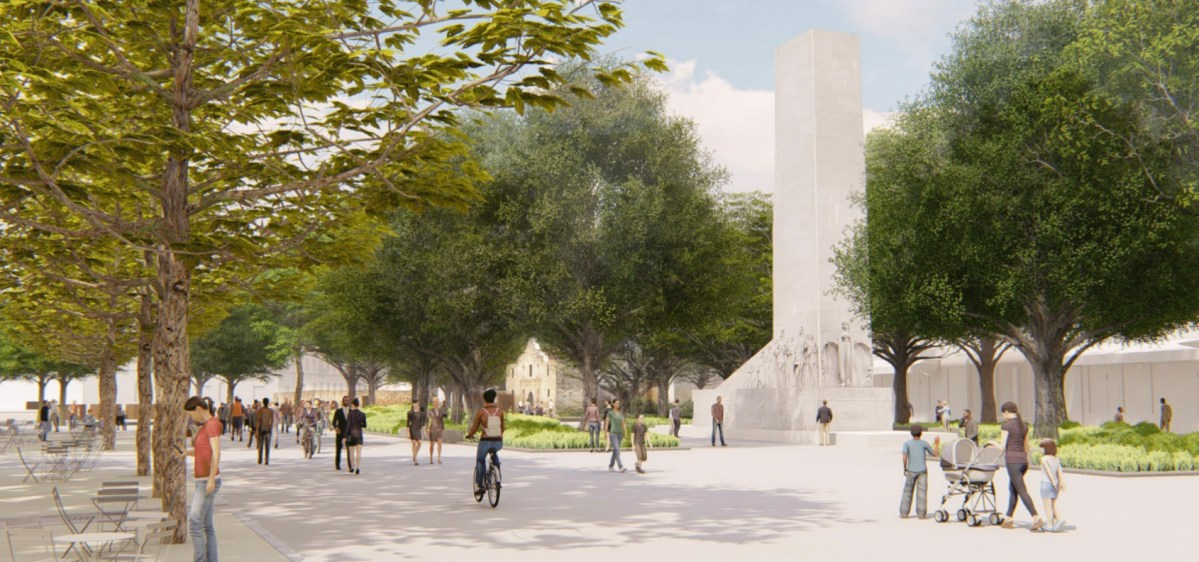 A rendering of Alamo Plaza as viewed from the South.
