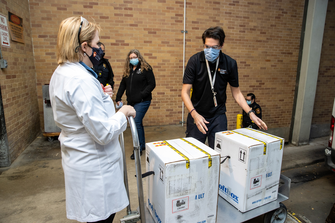 UT Health San Antonio Receives First Shipment of Pfizer's COVID-19 Vaccine on Monday, December 14, 2020.