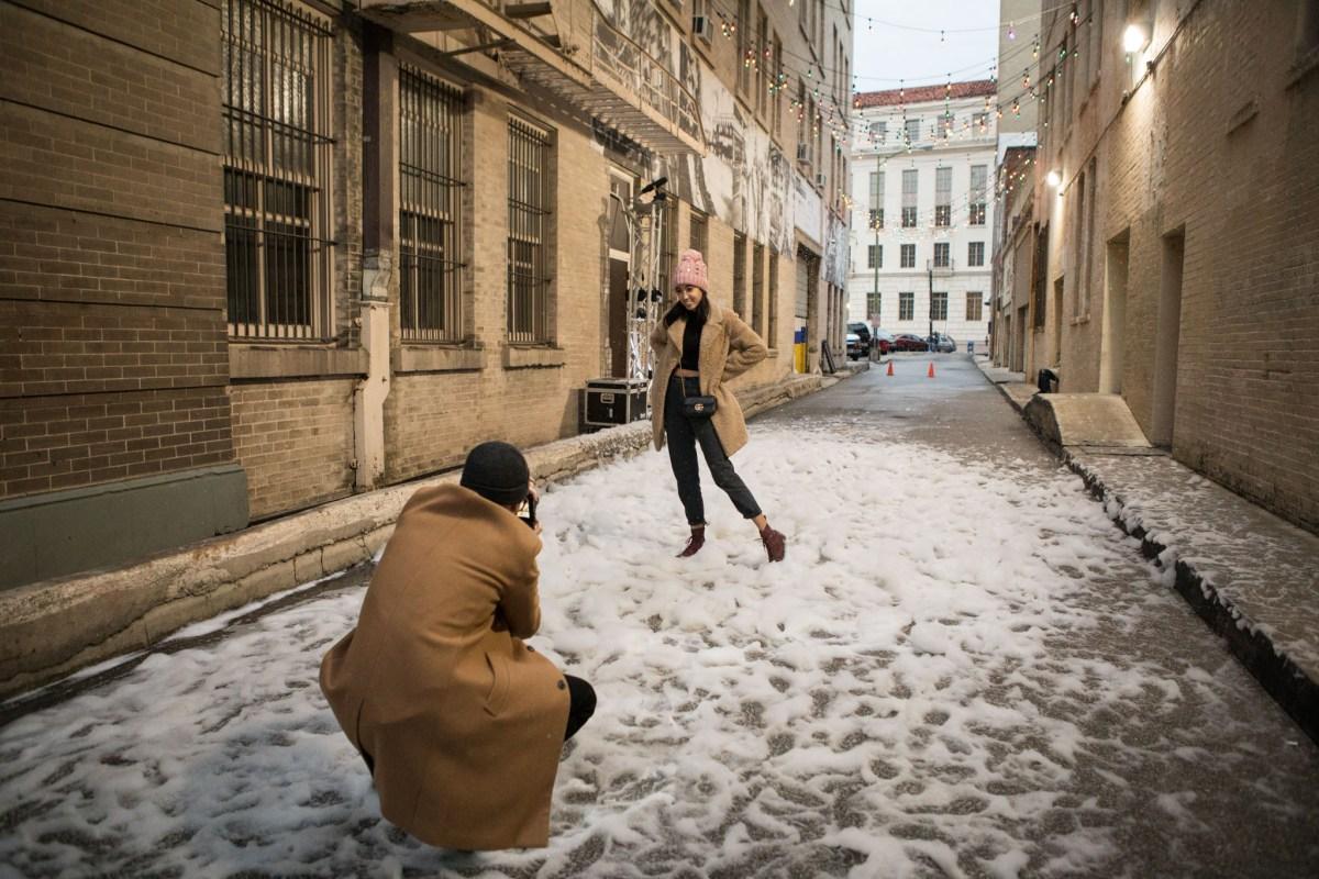 "Centro San Antonio hosts a ""snowstorm"" downtown in Peacock Alley on December 5, 2020."