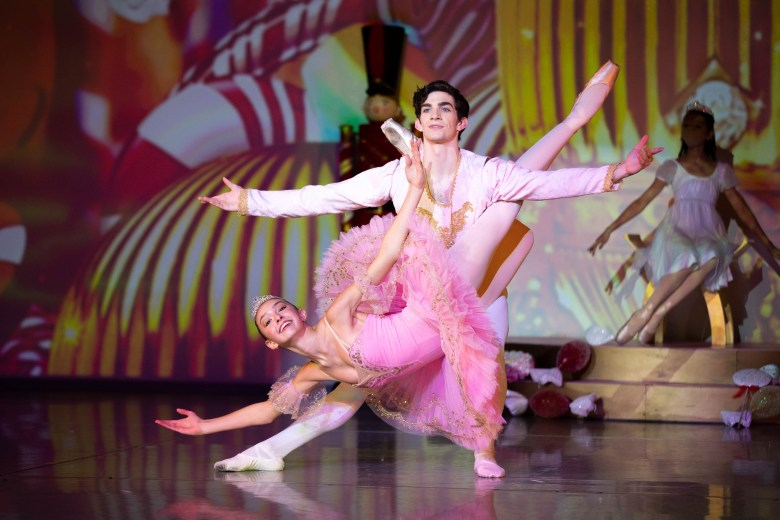 Ballerina Kate Thomas rehearses with Liam Hogan in The Children's Nutcracker which will be shown virtually this year.