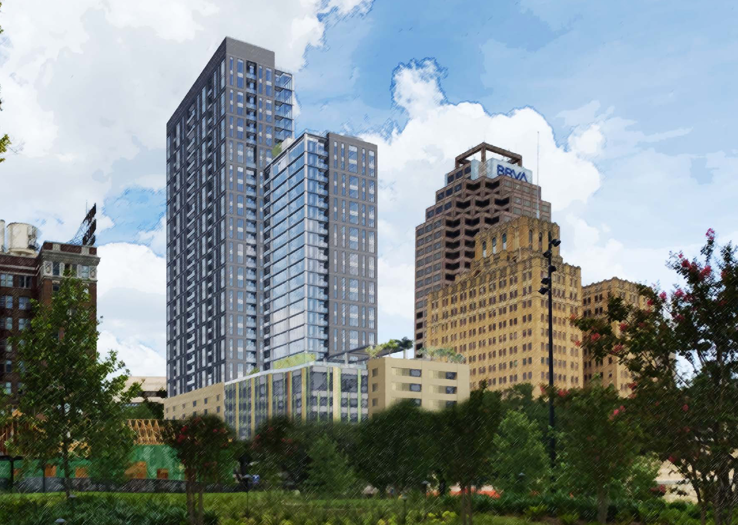 A 32-story residential tower received conceptual approval from the Historic and Design Review Board.