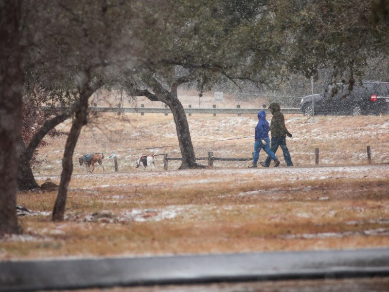 On Sunday, parts of northern Bexar County saw a wintry mix with enough snow to cause patches of white to form along the ground.