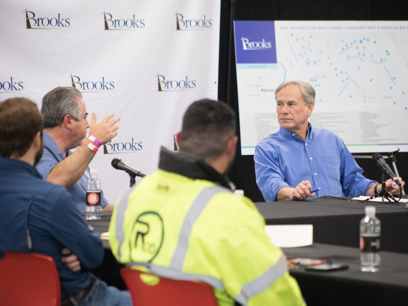 Governor Greg Abbott holds a listening session in San Antonio on the Texas economy and the construction industry at Cuisine Solutions at Aviation Landing. Photos taken on January 26, 2021.