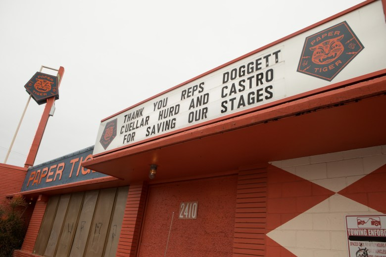 "Paper Tiger is located at 2410 N. St. Mary's St. The sign reads ""Thank you Reps Doggett Cuellar Hurd and Castro for saving our stages."""