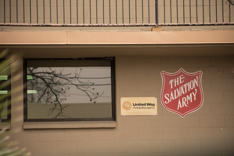 Nightly shelter enrollment at the Dave Coy Salvation Army Men's Shelter begins at 3 pm daily through 8 pm. Photos taken on February 13, 2021.