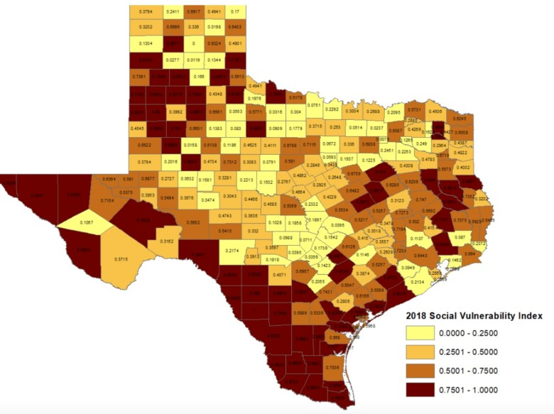 A map of the Social Vulnerability Index (SVI) in Texas.