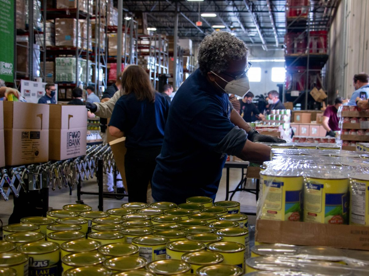 Volunteers from St. Mary's Law School volunteer at the San Antonio Foodbank during National Volunteer Month.