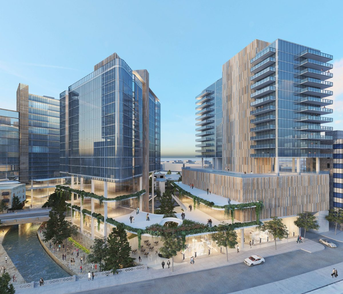A rendering shows a view of the Dream Hotel project looking north from Martin Street.