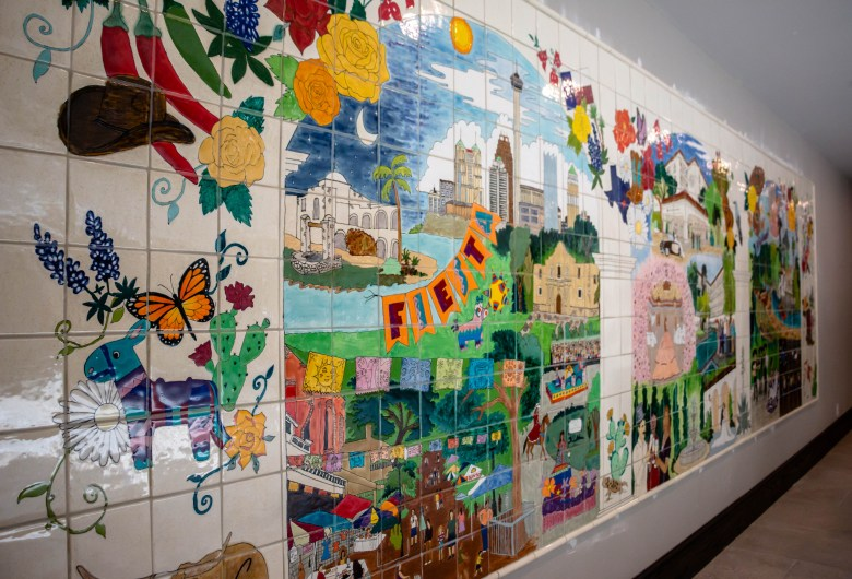 Charles Leddy comissined this tile mural with vignettes of San Antonio life depicted throughout.