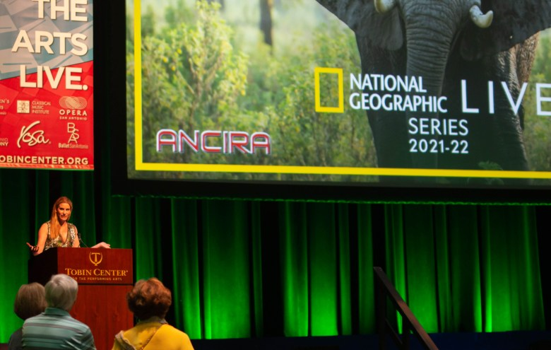 April Ancira announces the four National Geographic Live! events at the Tobin Cener for the Performing Arts.