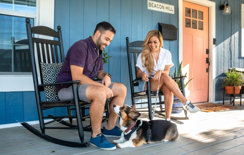 Adam Pena (left) and his fiancé, Sophia Campos (right) moved into their home in Beacon Hill in 2018. They added their puppy Javi into their family during the pandemic in 2020.