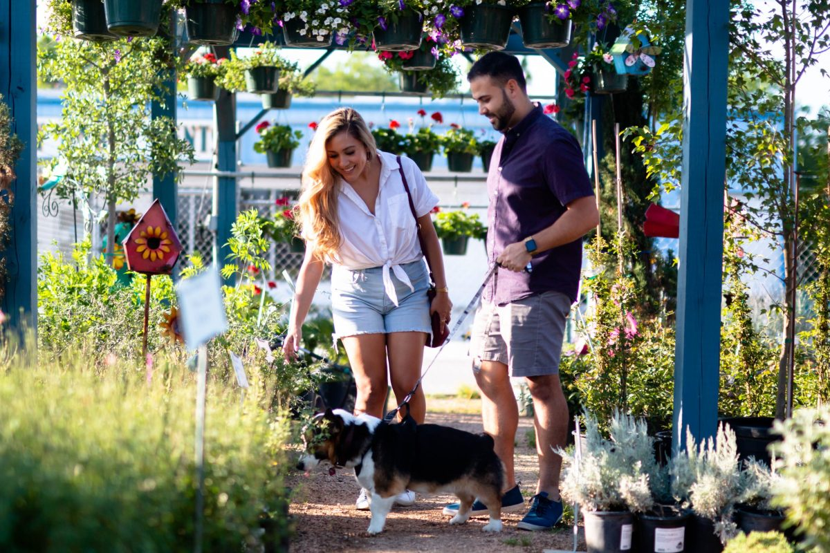 Sophia Campos (left) and her fiancé, Adam Pena, said they enjoy visiting Evergreen Garden to pick out new plants to decorate their home with.