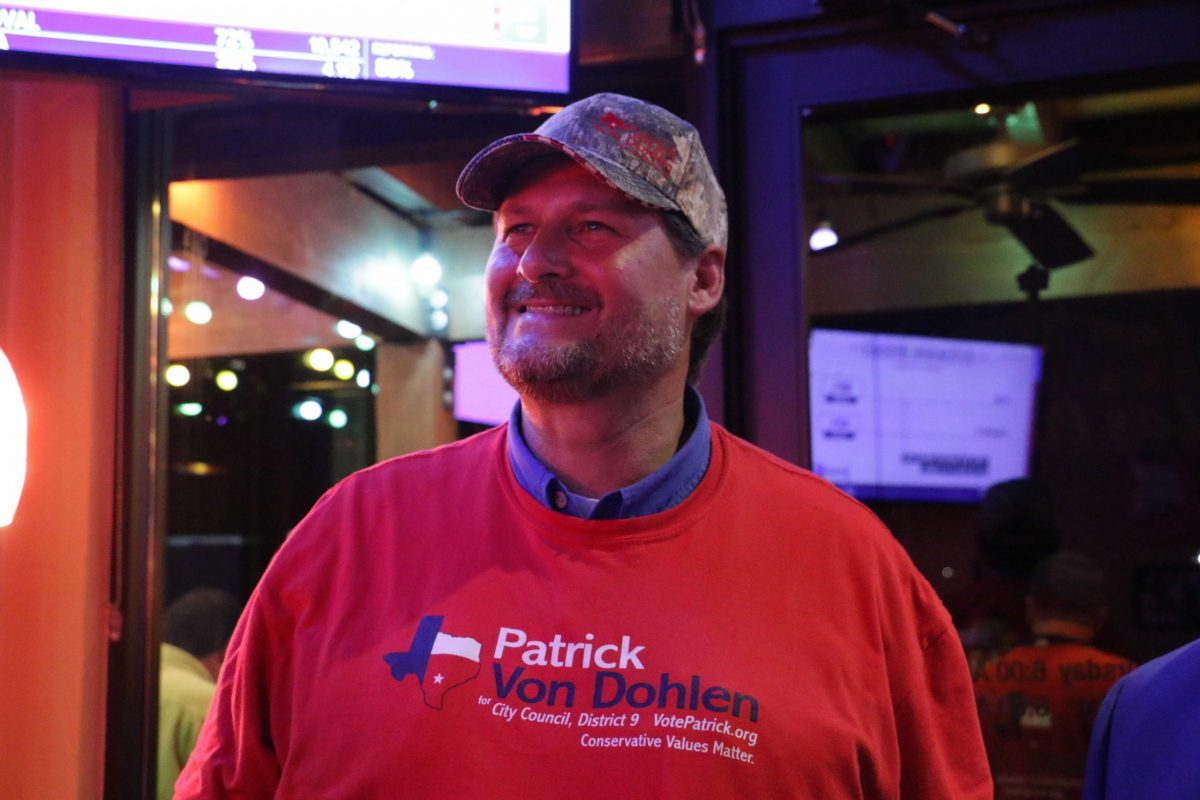 Patrick Von Dohlen, City Council (D9) candidate, smiles as the results come in revealing that he will be part of the runoff election on June 5th.