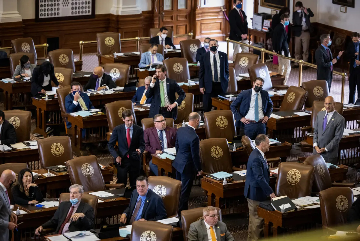 Lawmakers sit through hours of debate over police reform in the Texas House on April 29, 2021.